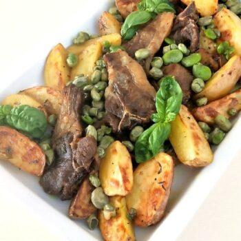 costoline di agnello al curry con patate e fave speciale pasqua