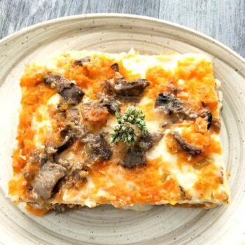 Lasagna con funghi zucca gialla e scamorza Menu Natale