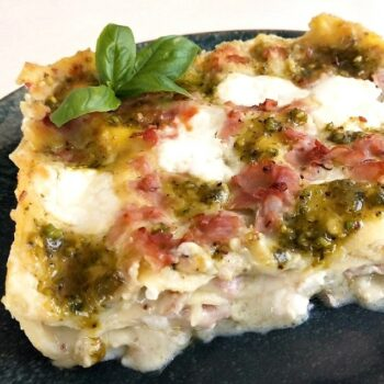 Lasagna con mortadella pesto di pistacchi e burrata menu Natale