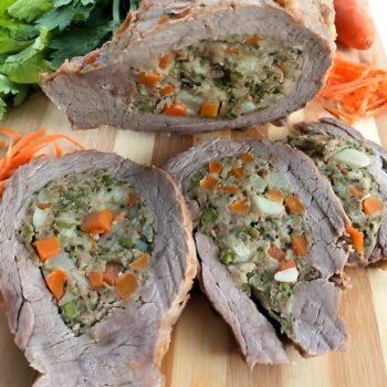 Tasca di vitello farcita con verdure menu capodanno