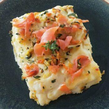 Lasagna con salmone e verdure menu capodanno