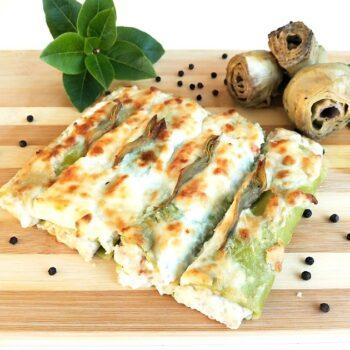 Cannelloni verdi con ragù bianco e carciofi Alimentari Pasqualetti